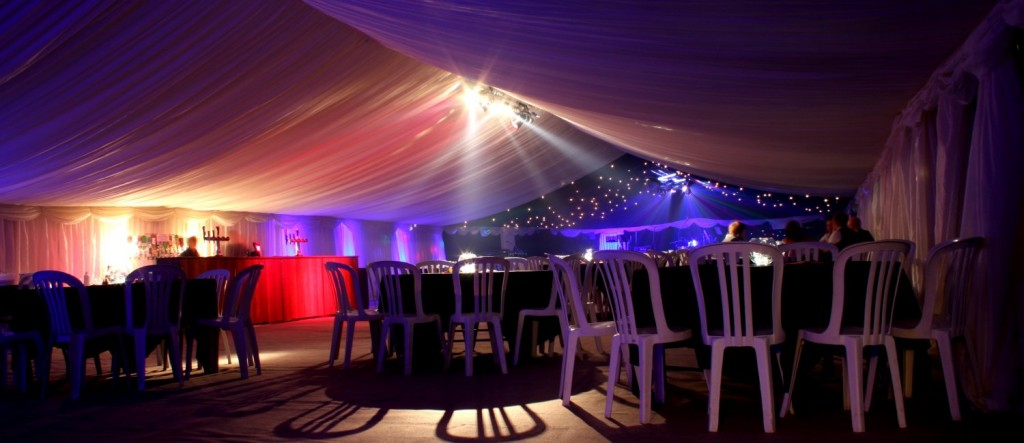 wedding party marquee lighting
