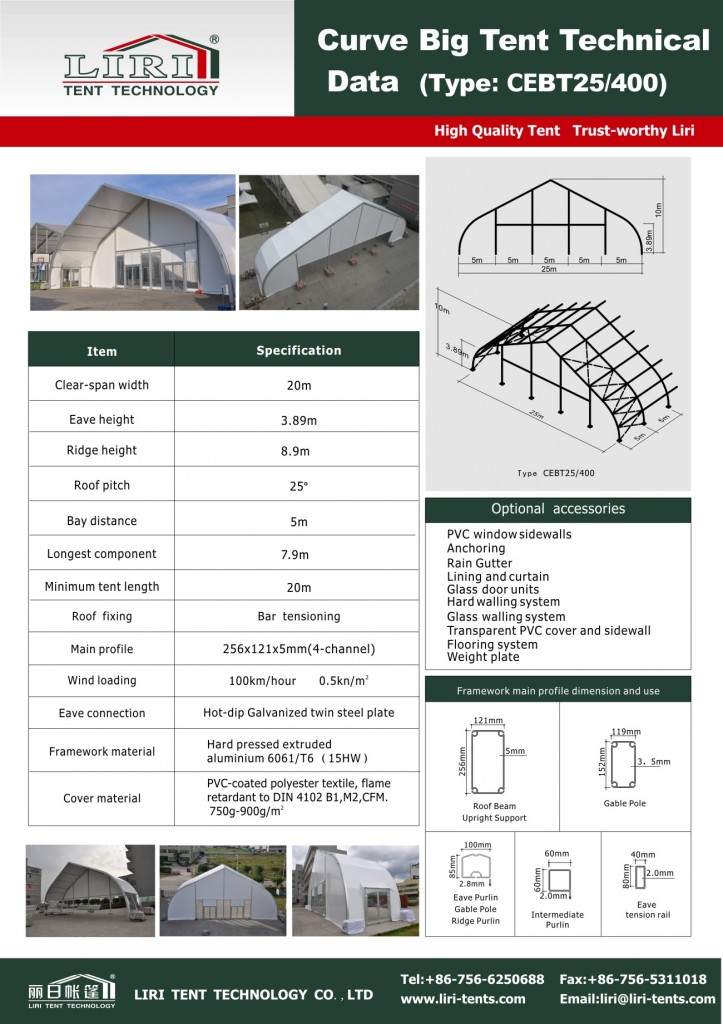 Specification of TFS Tent