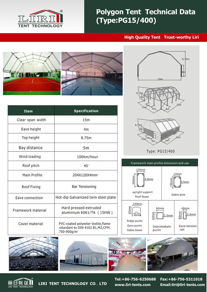 Sport Tents-Technical data