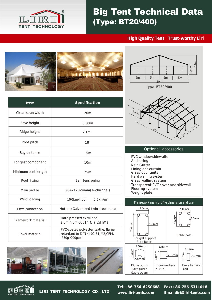 Specification of transparent tent